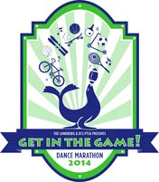 Dance Marathon logo - Get in the Game!