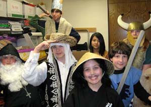 Students dressed up in costumes