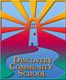 Discovery logo: light house in front of sun rays